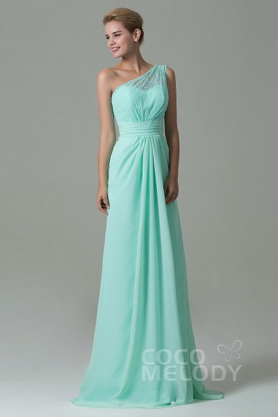 Charming Sheath-Column One Shoulder Natural Floor Length Lace Chiffon  Sleeveless Side Zipper Bridesmaid 176e27a460c1
