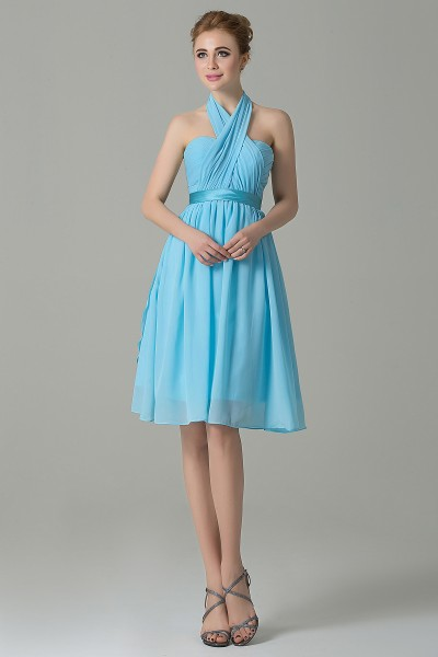 Classic A-Line Knee Length Chiffon Convertible Bridesmaid Dress with Sashes  and Draped Streamers COZM14050 5c65e938dd15
