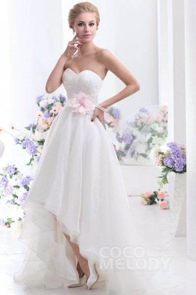 Pretty Asymmetrical Sweetheart High Low Organza Wedding Dress Cwlh1300a