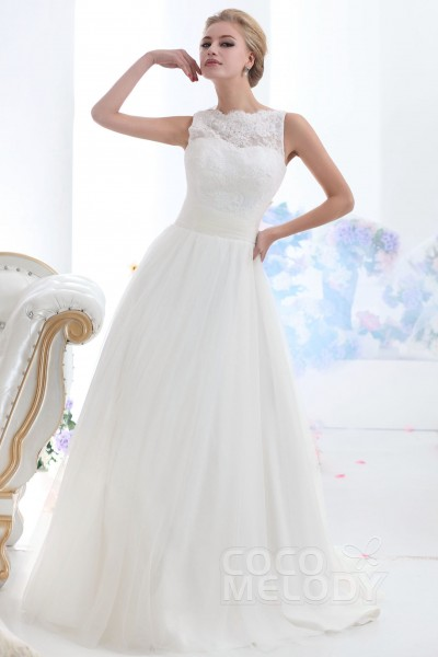 9b3c26ab4e032 Trendy A-Line Illusion Neckline Sweep-Brush Train Tulle Wedding Dress  CWXF13001