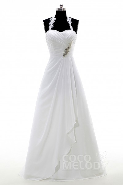 70c4858fbe9 Pretty A-Line Halter Floor Length Chiffon Zipper with Buttons Wedding Dress  with Beading and