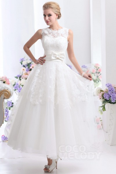 Pretty A Line Illusion Natural Ankle Length Tulle And Lace Sleeveless Zipper Wedding Dress With