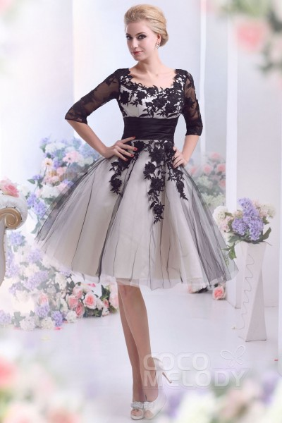 Casual A Line Square Half Sleeve Knee Length Tulle Wedding Dress With Liques Cwzk13002