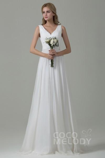 0e578e3f7ef Pretty Sheath-Column V-Neck Natural Sweep-Brush Train Chiffon Sleeveless  Zipper Wedding