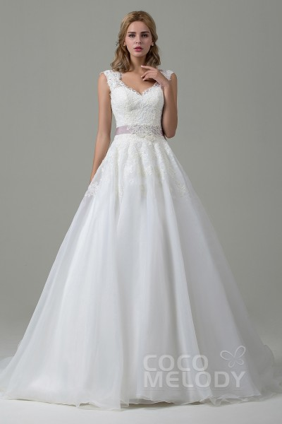 A Line Court Train Lace And Organza Wedding Dress Cwzt15007