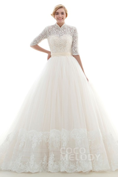 acb1e99a Modern Princess High Neck Natural Chapel Train Tulle Ivory/Champagne Half Sleeve  Lace Up-