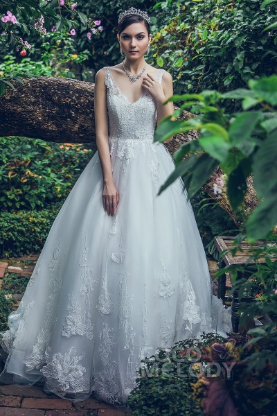 30b00fd652e Princess Chapel Train Tulle Lace and Organza Wedding Dress LD5716