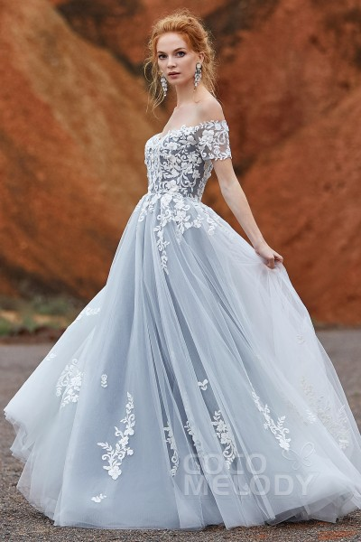 f01e20d90d6 A-Line Sweep-Brush Train Tulle Gothic Wedding Dress LD5830