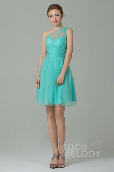 A Line One Shoulder Natural Short Mini Tulle Sleeveless Side Zipper Bridesmaid