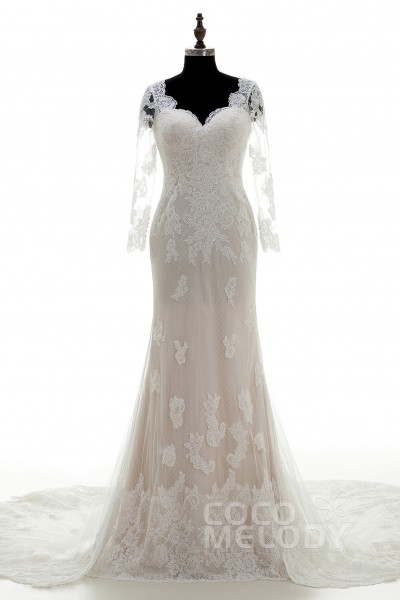 7b2e526a53be Romantic Sheath-Column V-Neck Chapel Train Lace Long Sleeve Wedding Dress  with Appliques