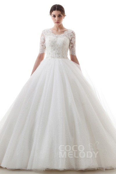 Charming Princess Scoop Court Train Tulle Ivory Half Sleeve Wedding Dress With Liques B14tb0056