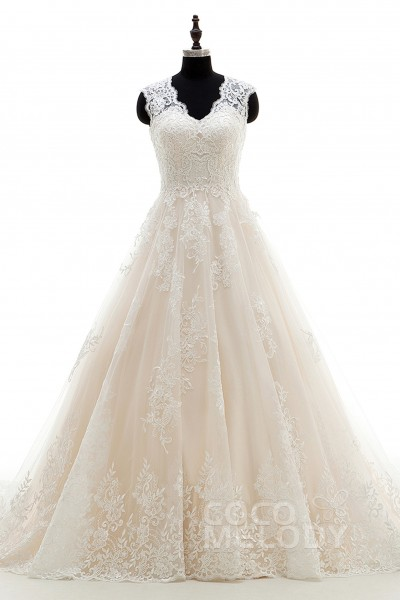 A-Line Court Train Tulle and Lace Wedding Dress Appliques LWXT16001