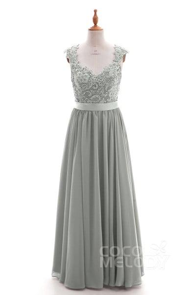 dd3cdb0346c Sheath-Column Floor Length Lace and Chiffon Dress NB3322