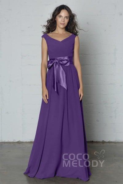 a61a09e9f3 Fantastic Sheath-Column V-Neck Natural Floor Length Chiffon Sleeveless  Zipper Dress with Pleating