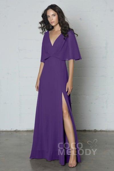 1b16c1510b0f Fantastic Sheath-Column V-Neck Natural Floor Length Chiffon Half Sleeve  Side Zipper Dress