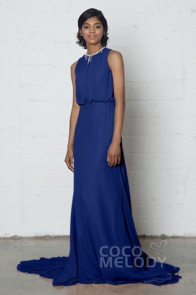 Chic Trumpet-Mermaid Jewel Natural Court Train Chiffon Sleeveless Zipper  Dress with Beading and Pleating 51626f4f7580