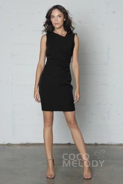 c099630685f4 Elegant Sheath-Column Natural Short-Mini Knitted Fabric Sleeveless Zipper  Dress with Pleating PR17031