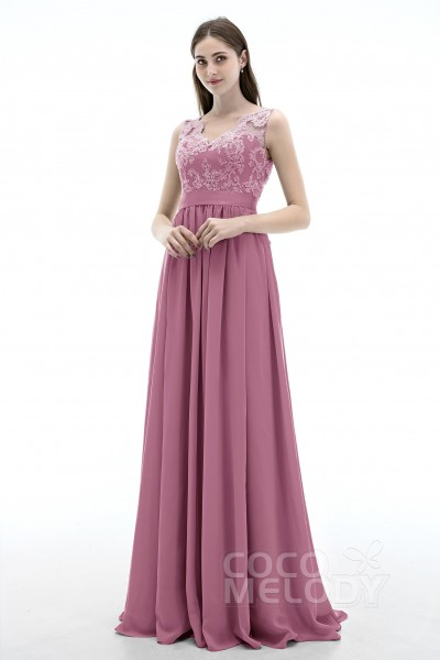7607e9cae4de2 Sheath-Column V-Neck Natural Sweep-Brush Train Chiffon Sleeveless Open Back  Bridesmaid