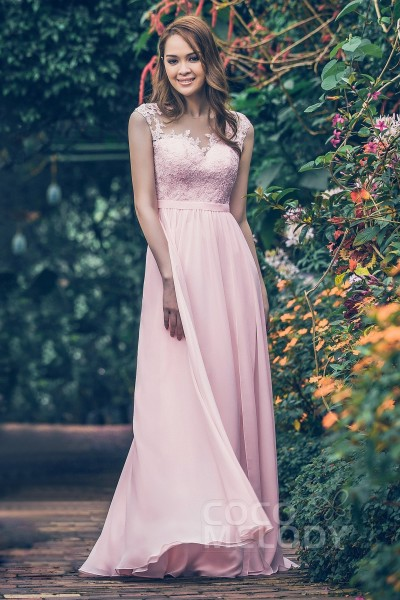 91379599ba Sheath-Column Floor Length Chiffon and Lace Bridesmaid Dress PR3554