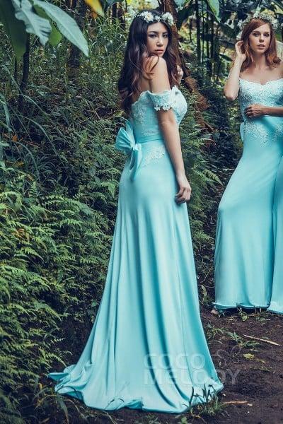 b454dd4749 Sheath-Column Sweep-Brush Train Knitted Fabric Bridesmaid Dress PR3561