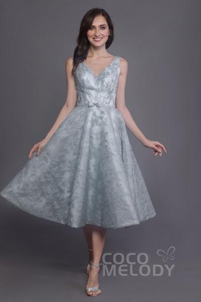 9d383ce774e7 A-Line Tea Length Lace and Organza Bridesmaid Dress PR3588