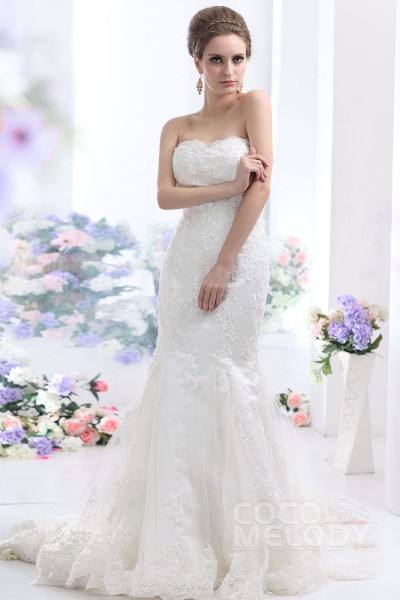 b479d3a8e99f Perfect Trumpet-Mermaid Sweetheart Court Train Tulle Wedding Dress CWLT130EB