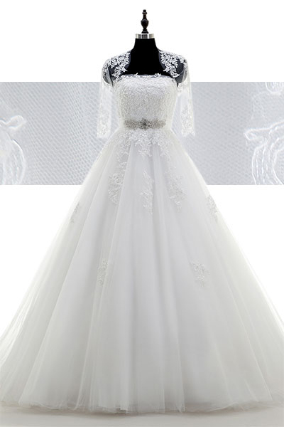 dd6202cfc5543 A-Line Court Train Tulle Wedding Dress CWLT15009